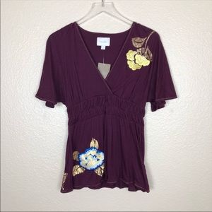 Anthro | Deletta kimono embroidered floral v neck